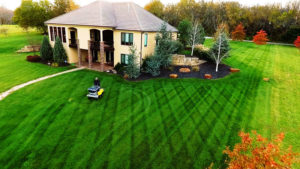 Lawn care customers turf treatment being applied at a residential home in the front yard