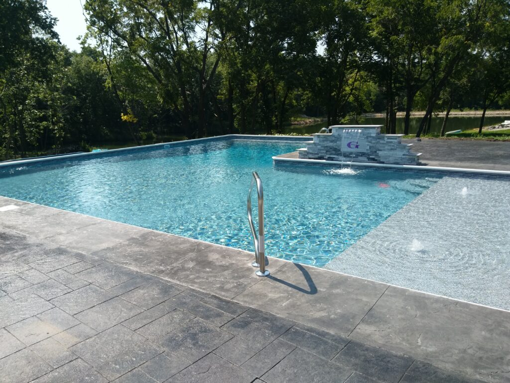 L-Shaped Swimming Pool. Call us to book appointment 816-540-4400